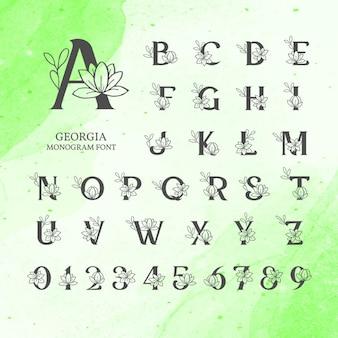 Floral monogram lettertype ontwerp