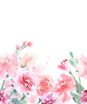 Floral naadloze aquarel randen met rozen, vintage stijl, aquarel vectorillustratie.
