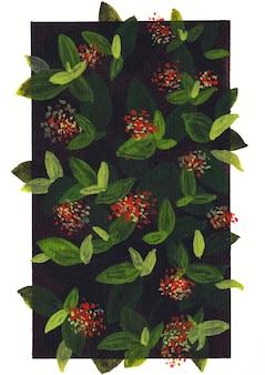 Floral natuur achtergrond kunst met zwarte achtergrond
