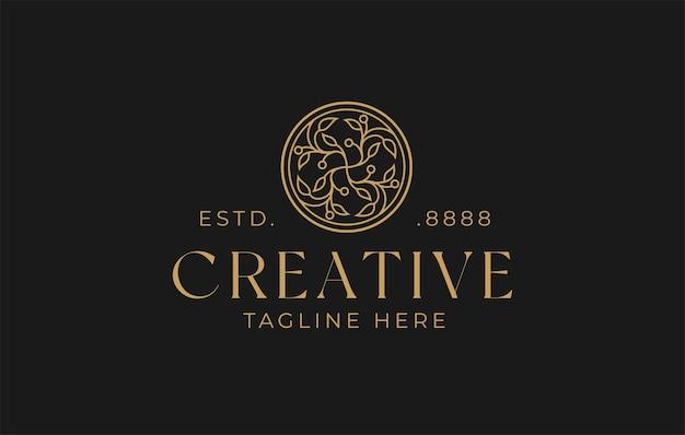 Floral natuur lijn logo ontwerpsjabloon
