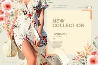 Floral nieuwe collectie sjabloon voor spandoek