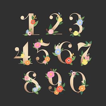 Floral nummers instellen illustratie Gratis Vector