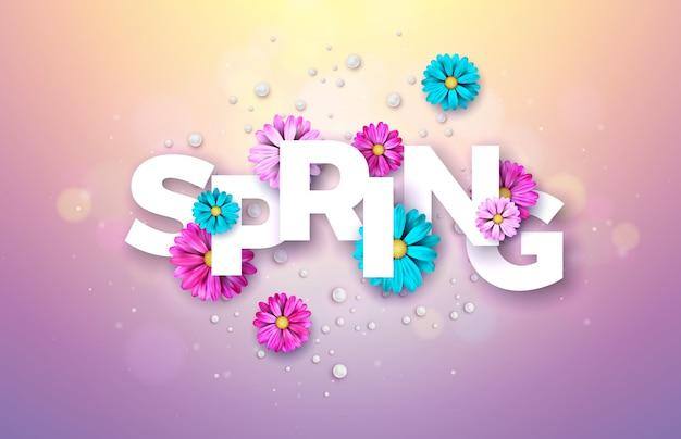 Floral ontwerpsjabloon met typografie brief