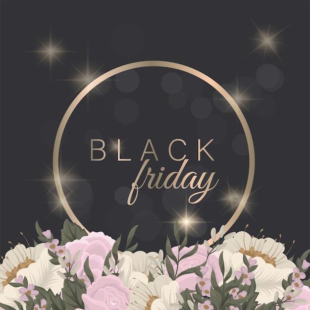 Floral ontwerpsjabloon voor zwarte vrijdag verkoop