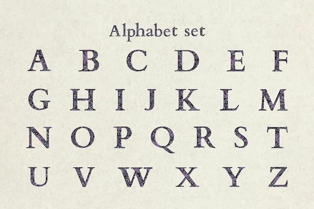 Floral paarse alfabet letter vector ingesteld op beige