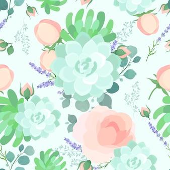 Floral pastel kleuren naadloze patroon kleurrijke bloemen achtergrond girly achtergrond