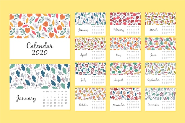 Floral patroon kalender 2020 sjabloon
