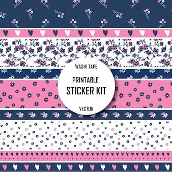 Floral patroon washi tape. afdrukbare washi-tape