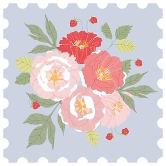 Floral postzegel. roze en rode pioen boeket op een hemelsblauwe achtergrond. handgetekende wenskaart ontwerp in stijl van een post-stempel. moderne illustratie voor web en print.