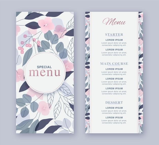 Floral restaurant menusjabloon