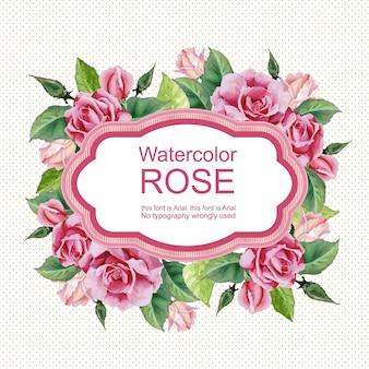 Floral roos aquarel vintage kaart