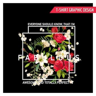 Floral rose en lily grafisch ontwerp voor t-shirt, mode, prints in