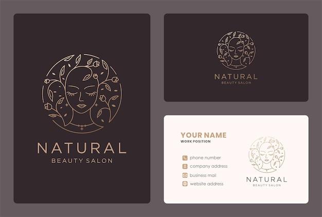 Floral schoonheid logo monogram stijl met visitekaartje ontwerp.
