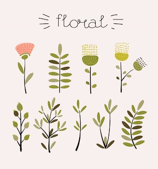 Floral set.colorful floral collection with leaves and flowers, drawing watercolor.colorful floral collection with flowers + 1 beautiful bouquet.set of floral elements for your composition.