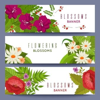 Floral set van banners sjabloon