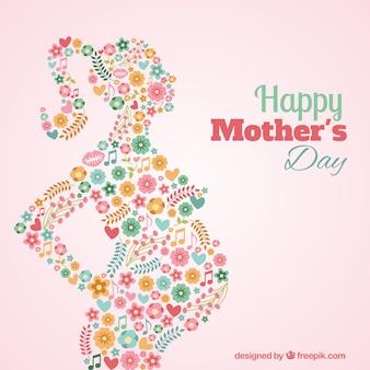 Floral silhouet van een zwangere vrouw kaart