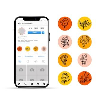 Floral sociale media verhalen hoogtepunten ontwerp