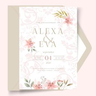Floral stijl bruiloft kaartsjabloon