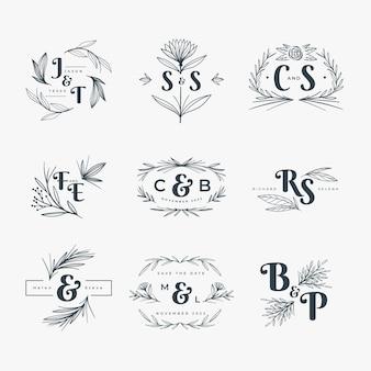 Floral stijl bruiloft logo's