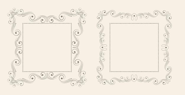 Floral stijl decoratieve vintage frame achtergrond set