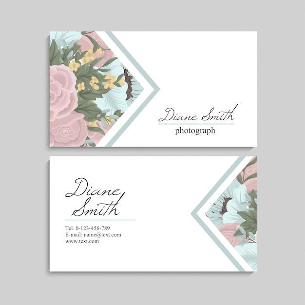 Floral stijl visitekaartje sjabloon vector