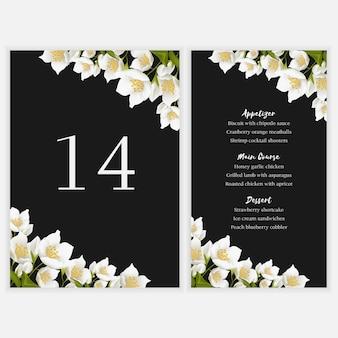 Floral tafel menukaart met jasmijn boeket