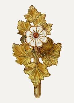 Floral tie back illustratie vector, geremixt van het artwork door helen bronson