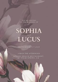 Floral uitnodigingskaart sjabloon vector voor huwelijksceremonie