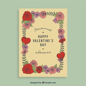 Floral valentijn flyer ontwerp