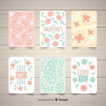 Floral valentijn kaart collectie