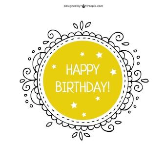 Floral vector verjaardagskaart gratis dowload
