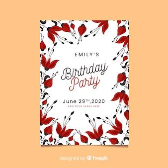 Floral verjaardag uitnodiging ontwerp