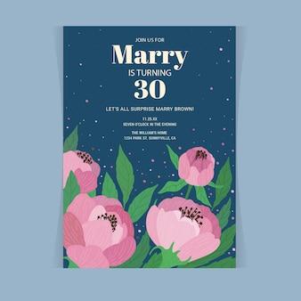 Floral verjaardag uitnodiging sjabloon voor vrouw die 30 wordt