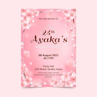 Floral verjaardag uitnodiging sjabloon