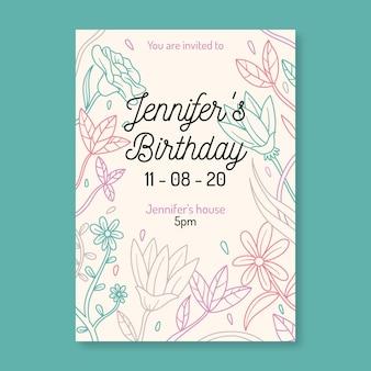 Floral verjaardagsfeestje uitnodiging