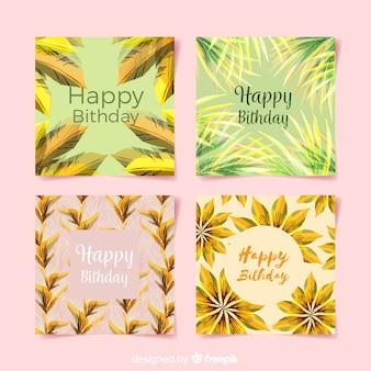 Floral verjaardagskaart collectie