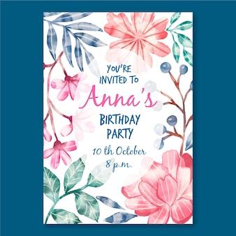 Floral verjaardagskaart sjabloon