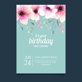 Floral verjaardagskaart sjabloonontwerp