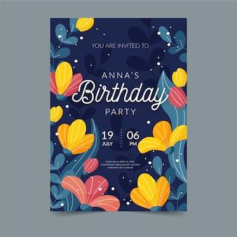 Floral verjaardagskaartsjabloon