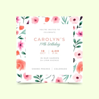 Floral verjaardagsuitnodiging sjabloon