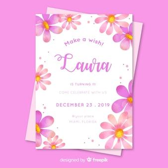 Floral verjaardagsuitnodiging voor meisje sjabloon