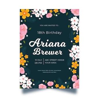 Floral verjaardagsuitnodiging