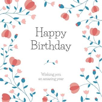 Floral verjaardagswens sjabloon vector voor social media post