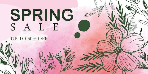 Floral verkoop banner in de hand getekende lijn kunststijl