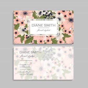 Floral visitekaartje sjabloonontwerp