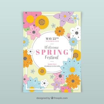 Floral voorjaar partij flyer sjabloon
