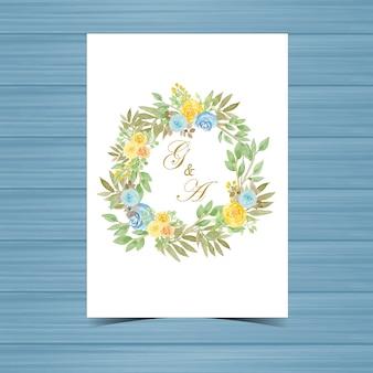 Floral wedding badge met gele en blauwe rozen