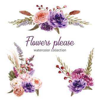 Floral wijn boeket met roos, pioenroos, bladeren aquarel illustratie.