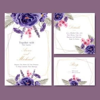Floral wijn bruiloft kaart met pioenroos, lavendel aquarel illustratie