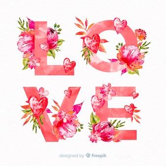 Floral woord valentijn achtergrond